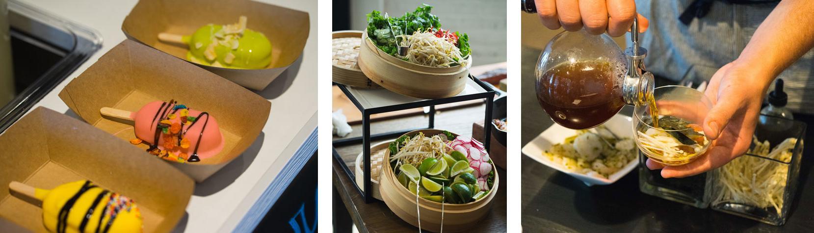 蓝盘的特色行动站在Ultimate餐饮车间