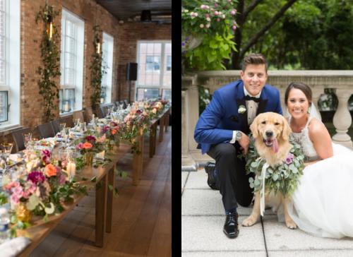 左边的照片是米歇尔和凯文和他们的狗,一只金毛寻回犬耐克. 在右边是一张照片的主桌在Loft露西亚与粉红色和紫色的花, 柔软的蜡烛, 和金丝玻璃器皿.