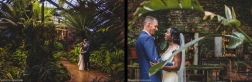 左边,一对新郎和新娘在芝加哥的新叶会场. 在右边, 新婚夫妇在新叶, 被蕨类植物和其他植物包围的室内空间有玻璃天花板.
