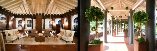 Cafe Brauer室内外凉廊空间,左侧装饰有绿色植物,右侧设置了舒适的椅子,灯光柔和