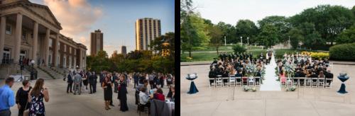 左边的照片描绘了一场户外婚礼,有一排排的白色椅子和坐着的客人. 右边的照片显示了一个室外招待会,有一个楼梯通往博物馆的入口.