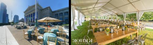 左边的照片显示户外帐篷上挂着闪烁的灯光. 木桌上布置着灯笼和橙色的花饰. 右边的照片是在博物馆的露天平台上摆放着圆桌和蓝色的亚麻布和雨伞.