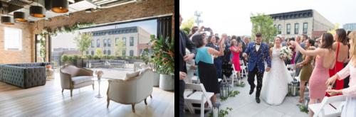左边的照片是新郎和新娘在婚礼结束时走上过道. 客人扔纸屑. 右边的照片显示的是一个室内空间向室外开放. 室内, 现代工业空间与裸露的砖设置舒适的家具米色和灰色色调.