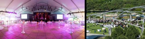 左边的照片是千禧公园草坪上的户外活动. 右边的照片是搭起帐篷的杰伊·普利兹克馆.