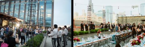 左边的照片显示了一个屋顶接待,柚木桌子和闪烁的灯挂在活动空间和城市的景色. 右图是黄昏时分,一个墨西哥流浪乐队在屋顶表演.